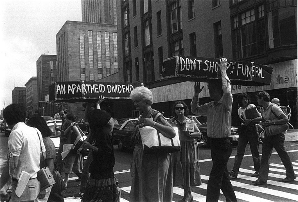 The anti-apartheid movement in South Africa was also a major focus for Resist funding
